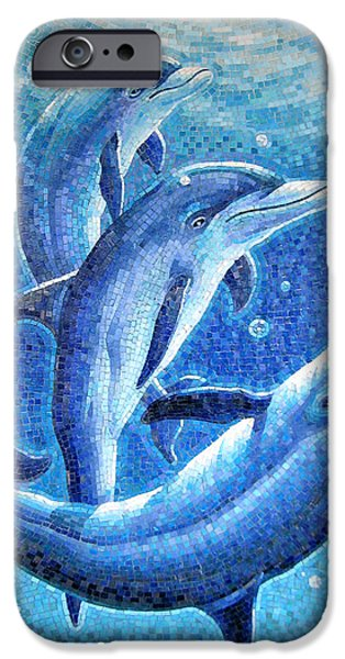Glass Reflections iPhone Cases - Dolphin Trio iPhone Case by Mia Tavonatti