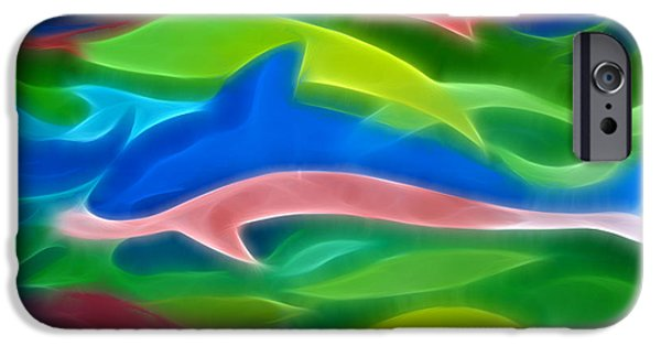 Dolphin Digital iPhone Cases - Dolphins iPhone Case by Ann Croon