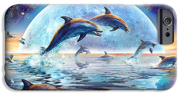 Astral iPhone Cases - Dolphins by Moonlight iPhone Case by Adrian Chesterman