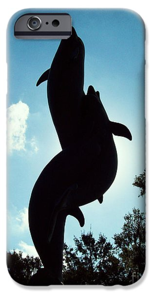 Usa Sculptures iPhone Cases - Dolphins In Blue iPhone Case by Nathan Little