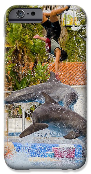 Consumerproduct iPhone Cases - Dolphins jumping with the girl iPhone Case by Alexandre Martins