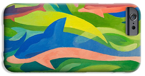 Dolphin iPhone Cases - Dolphins painting iPhone Case by Lutz Baar