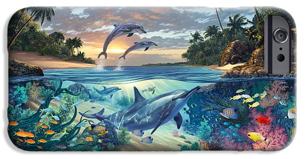 Marine iPhone Cases - Dolphins Playground iPhone Case by Steve Read