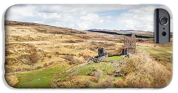 Pathway iPhone Cases - Dolwyddelan Castle Countryside Panorama iPhone Case by Christine Smart