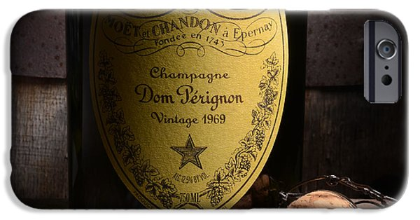 Wine Bottles Photographs iPhone Cases - Dom Perignon on Silver Oak iPhone Case by Jon Neidert