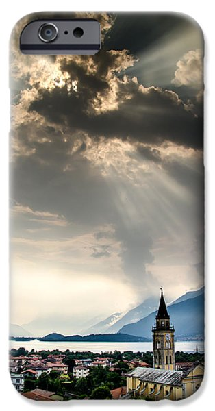 Lago Di Como iPhone Cases - Domaso Sunrays iPhone Case by Jeffrey Teeselink
