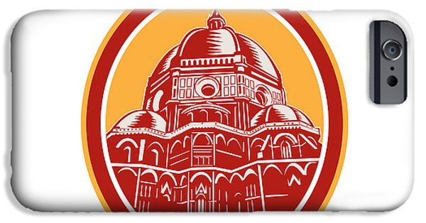 The Duomo iPhone Cases - Dome of Florence Cathedral Front Woodcut iPhone Case by Aloysius Patrimonio