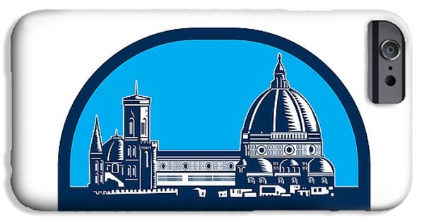 The Duomo iPhone Cases - Dome of Florence Cathedral Retro Woodcut iPhone Case by Aloysius Patrimonio