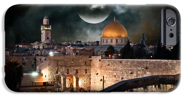 Sacrifice Mixed Media iPhone Cases - Temple Mount In Israel - Series III iPhone Case by Michael Braham