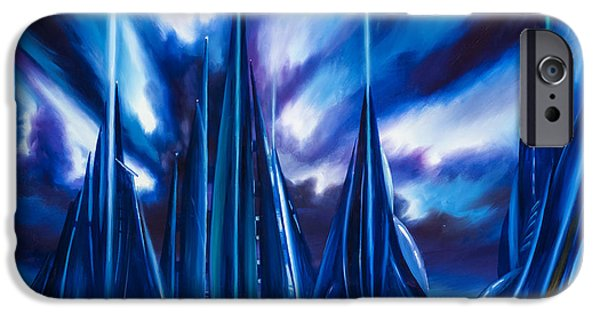 Black Hole Paintings iPhone Cases - Domed City iPhone Case by James Christopher Hill