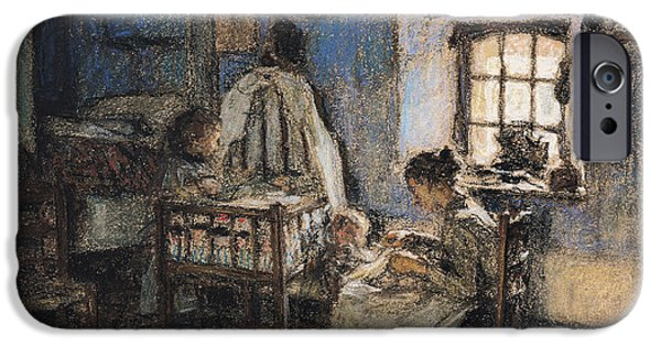 Pa iPhone Cases - Domestic Interior, Wissant, 1913 Pastel On Paper iPhone Case by Leon Augustin Lhermitte