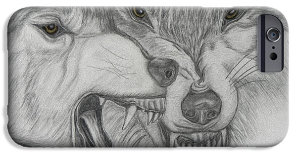Graphite Drawing Pastels iPhone Cases - Dominance iPhone Case by Cheryl McKeeth
