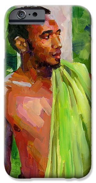 Figures Paintings iPhone Cases - Dominican Boy with Towel iPhone Case by Douglas Simonson