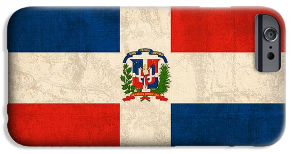 Nation iPhone Cases - Dominican Republic Flag Vintage Distressed Finish iPhone Case by Design Turnpike