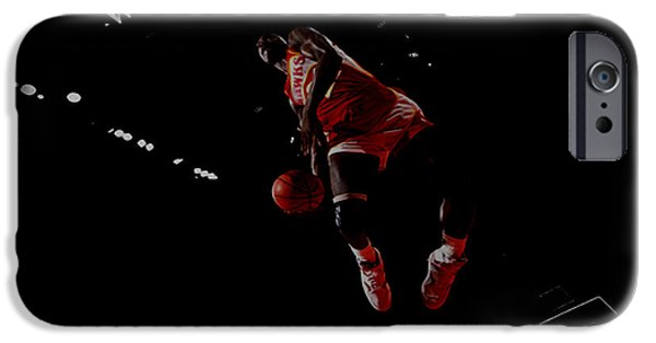 Shawn Kemp iPhone Cases - Dominique Wilkins Took Flight iPhone Case by Brian Reaves