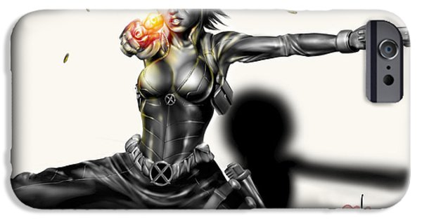 X-men iPhone Cases - Domino iPhone Case by Pete Tapang