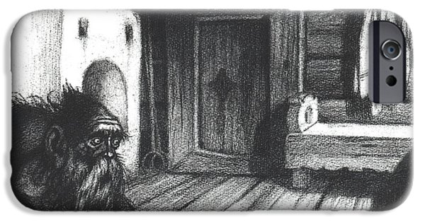 Divinity iPhone Cases - Domovoi, A Spirit Of The House, 1934 Charcoal On Paper Bw Photo iPhone Case by Ivan Jakovlevich Bilibin
