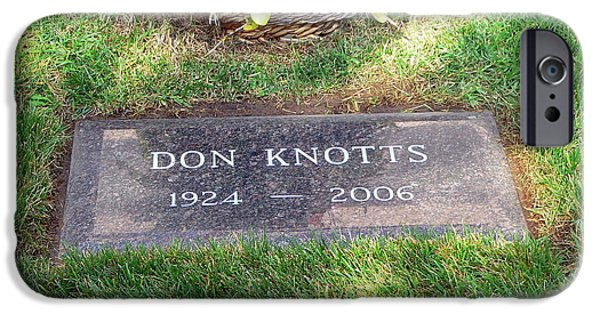 Andy Griffith Show iPhone Cases - Don Knotts Grave iPhone Case by Jeff Lowe