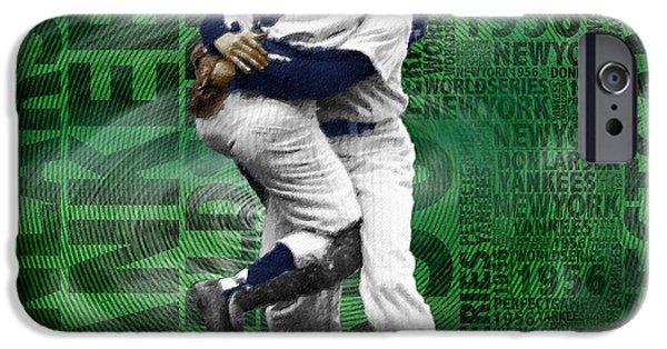 Baseball Uniform Mixed Media iPhone Cases - Don Larsen Yankees Perfect Game 1956 World Series  iPhone Case by Tony Rubino