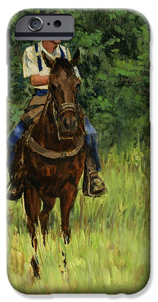 Chico iPhone Cases - Jack on His Horse Chico iPhone Case by Don  Langeneckert