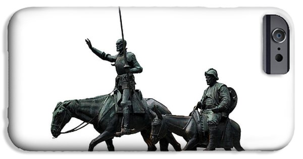 Cut-outs iPhone Cases - Don Quixote and Sancho Panza  iPhone Case by Fabrizio Troiani