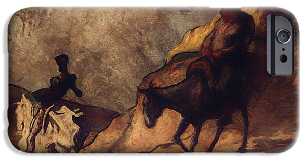 Don Quixote iPhone Cases - Don Quixote and Sancho Panza iPhone Case by Honore Daumier