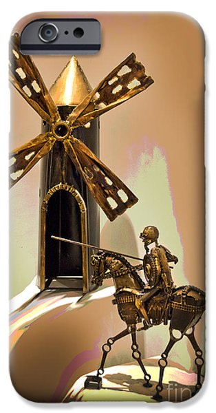 Don Quixote iPhone Cases - Don Quixote Tilting At Windmills iPhone Case by Al Bourassa
