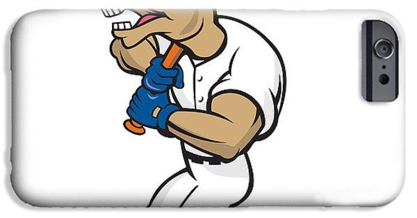 Donkey Digital Art iPhone Cases - Donkey Baseball Player Batting Cartoon iPhone Case by Aloysius Patrimonio