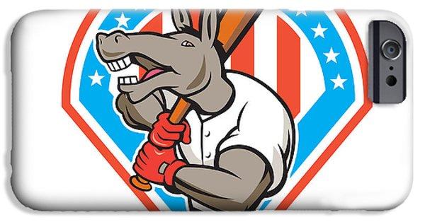 Donkey Digital Art iPhone Cases - Donkey Baseball Player Batting Diamond Cartoon iPhone Case by Aloysius Patrimonio