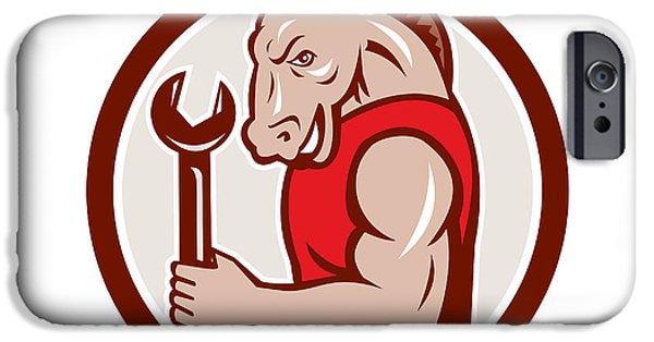 Donkey Digital Art iPhone Cases - Donkey Mechanic Spanner Mascot Circle Retro iPhone Case by Aloysius Patrimonio