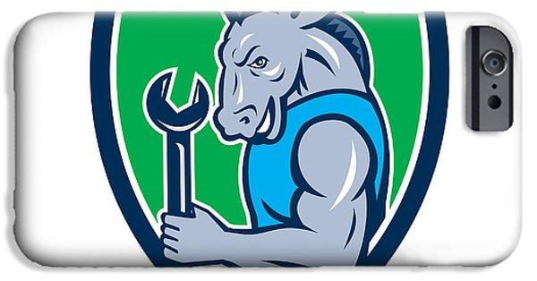 Donkey Digital Art iPhone Cases - Donkey Mechanic Spanner Mascot Shield Retro iPhone Case by Aloysius Patrimonio