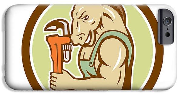 Donkey Digital Art iPhone Cases - Donkey Plumber Monkey Wrench Circle Retro iPhone Case by Aloysius Patrimonio