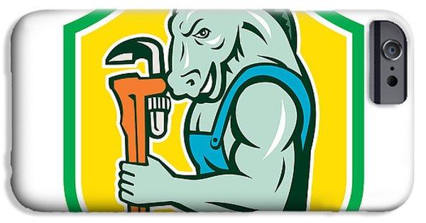 Donkey Digital Art iPhone Cases - Donkey Plumber Monkey Wrench Shield Retro iPhone Case by Aloysius Patrimonio