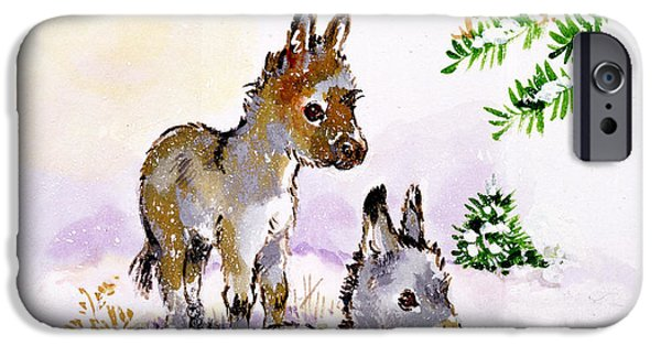 Snow iPhone Cases - Donkeys iPhone Case by Diane Matthes