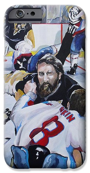 Hockey Paintings iPhone Cases - Donnybrook iPhone Case by Philip Kram