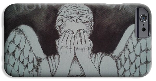 Weeping Drawings iPhone Cases - Dont Blink iPhone Case by Nina Shilling