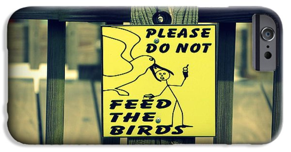 Fed iPhone Cases - Dont Feed The Birds iPhone Case by Laurie Perry