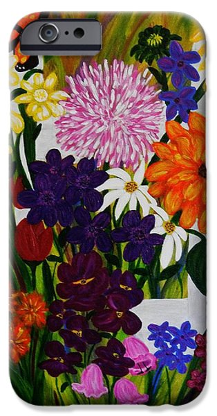 Garden Scene Paintings iPhone Cases - Dont Fence Me In iPhone Case by Celeste Manning