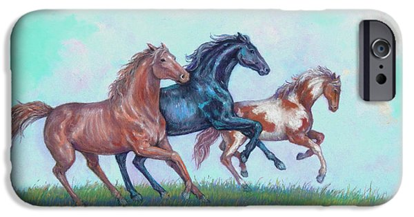 Horse Pastels iPhone Cases - Dont Fence Me In iPhone Case by Tanja Ware