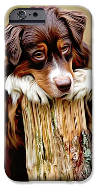 Puppy Digital Art iPhone Cases - Dont Leave... iPhone Case by Larry Espinoza