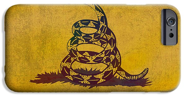 Tea Party Mixed Media iPhone Cases - Dont Tread on Me Gadsden Flag Patriotic Emblem on Worn Distressed Yellowed Parchment iPhone Case by Design Turnpike