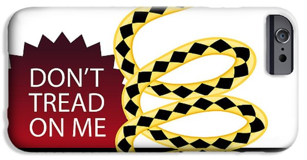 Tea Party iPhone Cases - Dont Tread on Me Snake iPhone Case by John Takai