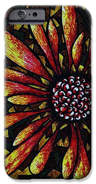 Earth Tones Drawings iPhone Cases - Doodle Outside the Box iPhone Case by Christi Barrett