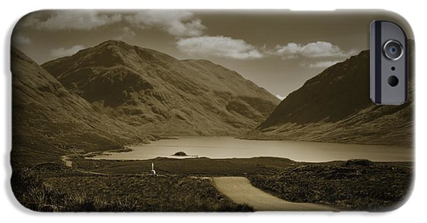 Wayside Cross iPhone Cases - Doolough Pass County Mayo Ireland Sepia iPhone Case by Jane McIlroy