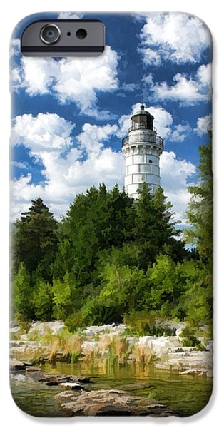 Chicago Paintings iPhone Cases - Cana Island Lighthouse Cloudscape in Door County iPhone Case by Christopher Arndt
