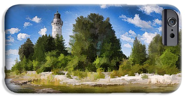 Lighthouse iPhone Cases - Door County Cana Island Lighthouse Panorama iPhone Case by Christopher Arndt