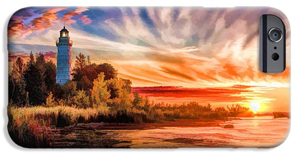 Chicago Paintings iPhone Cases - Door County Cana Island Lighthouse Sunrise Panorama iPhone Case by Christopher Arndt