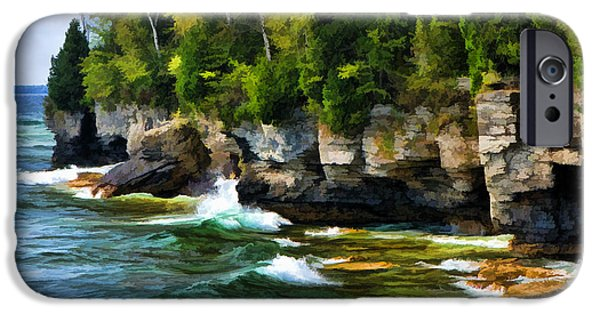 Chicago Paintings iPhone Cases - Door County Cave Point Cliffs iPhone Case by Christopher Arndt