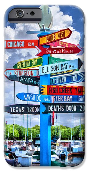 Distance iPhone Cases - Door County Directional Sign in Egg Harbor iPhone Case by Christopher Arndt