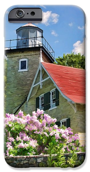 Lighthouse Paintings iPhone Cases - Door County Eagle Bluff Lighthouse Lilacs iPhone Case by Christopher Arndt